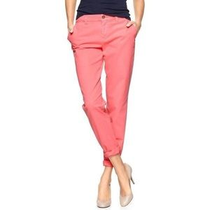Neon pink broken in straight khakis by GAP